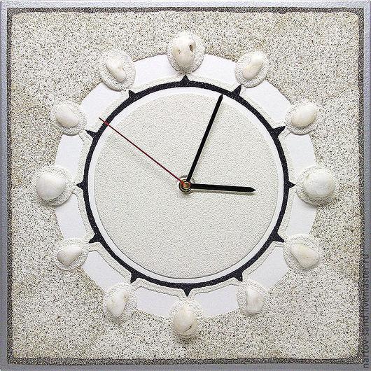 """Часы для дома ручной работы. Ярмарка Мастеров - ручная работа. Купить """"МЕРЦАНИЕ"""" из песка авторские часы. Handmade. Белый"""