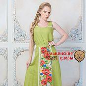 Одежда ручной работы. Ярмарка Мастеров - ручная работа Юбка Луговые цветы на зеленом. Handmade.