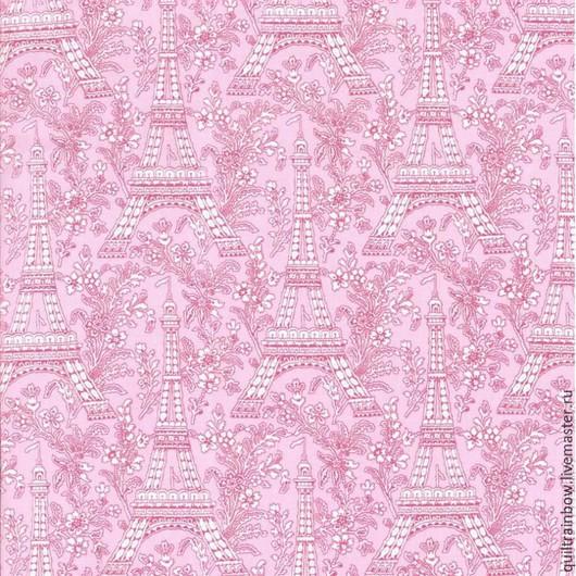 """Шитье ручной работы. Ярмарка Мастеров - ручная работа. Купить Хлопок """"Париж"""" (розовый фон). Handmade. Розовый, хлопок для пэчворка"""