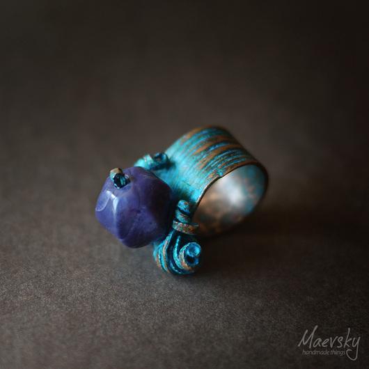 """Кольца ручной работы. Ярмарка Мастеров - ручная работа. Купить Медное кольцо """"4 стихии"""" №8, медь, агат, украшение. Handmade."""