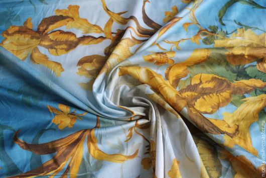 """Шитье ручной работы. Ярмарка Мастеров - ручная работа. Купить ткань 38801 сногсшибательный итальянский хлопок """"золотые лилии"""". Handmade."""
