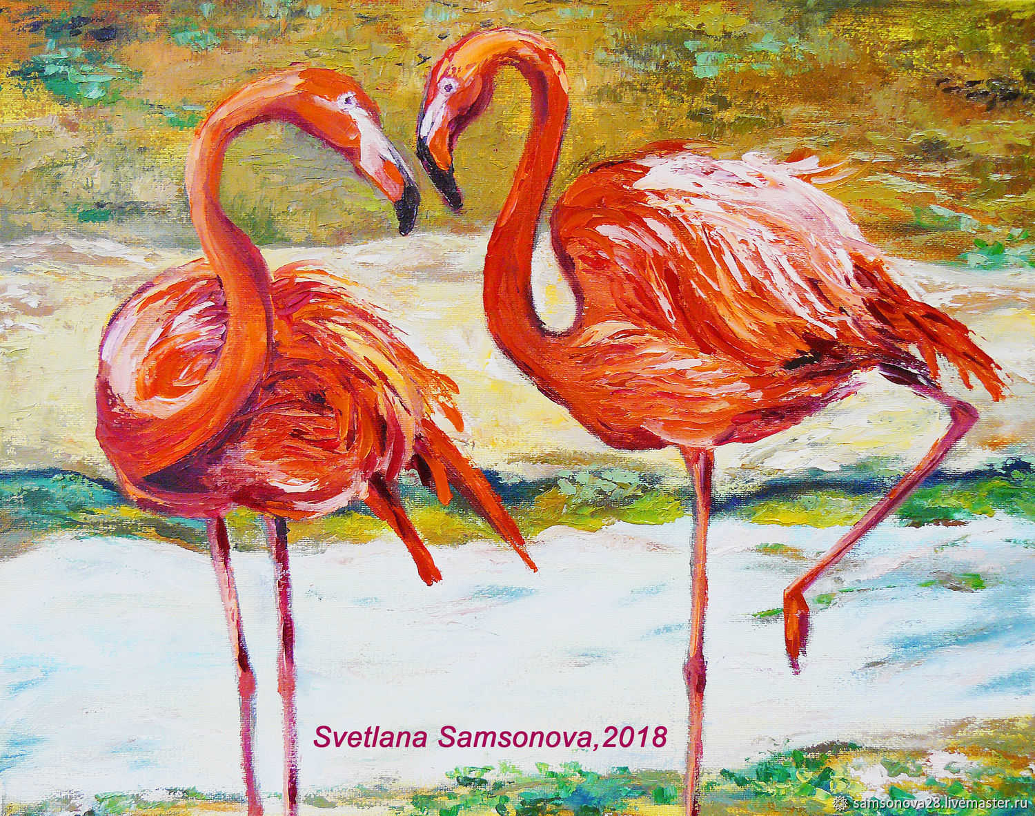 Painting with Flamingo birds 'Soulful conversation' on canvas, Pictures, Samara,  Фото №1