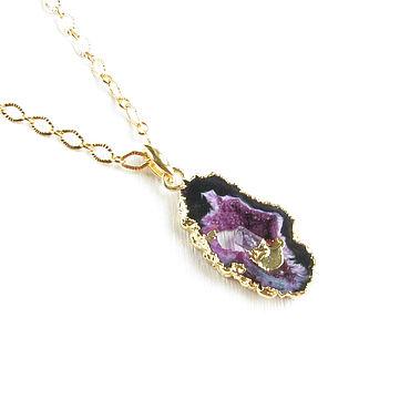 Decorations handmade. Livemaster - original item Geode agate pendant with amethyst