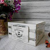 Для дома и интерьера ручной работы. Ярмарка Мастеров - ручная работа «French vinage» - мини-ящик короб кашпо сухарница декупаж. Handmade.