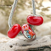Материалы для творчества handmade. Livemaster - original item Luxury - set of 3 lampwork red European Bead lampwork. Handmade.