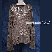 Одежда ручной работы. Ярмарка Мастеров - ручная работа Абстрактный свитер ручной работы. 53% меринос, 47% акрил. Размер S-M.. Handmade.