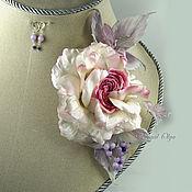 Украшения handmade. Livemaster - original item Pin brooch:Set of rose butterfly and earrings. Handmade.