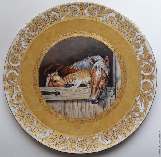 Экстерьер и дача ручной работы. Ярмарка Мастеров - ручная работа. Купить тарелка Лошади и котёнок. Handmade. Лошадь, конь