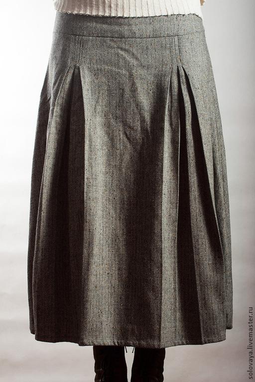 Юбки ручной работы. Ярмарка Мастеров - ручная работа. Купить Твидовая юбка на кокетке.. Handmade. Серый, бохо, шерстяная юбка