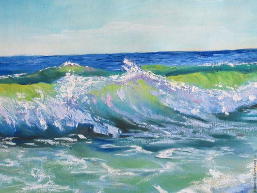 """Пейзаж ручной работы. Ярмарка Мастеров - ручная работа. Купить Картина маслом """"Море волнуется"""". Handmade. Море, морскаяя пена"""