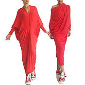 Одежда handmade. Livemaster - original item ENVY draped transformer red dress with sleeves. Handmade.