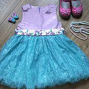 Работы для детей, ручной работы. Ярмарка Мастеров - ручная работа Платье Сиреневая бирюза. Handmade.