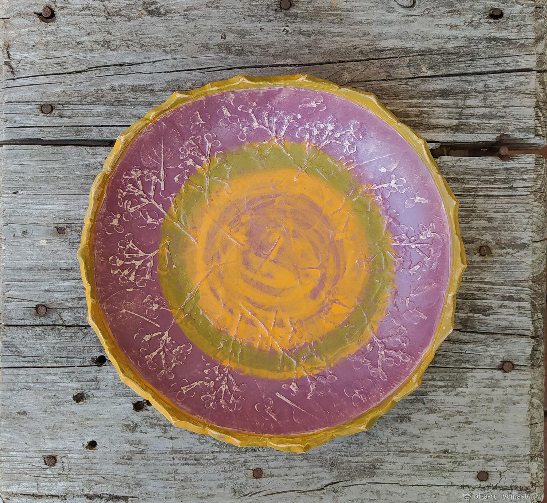 Большая тарелка, керамика, с отпечатком сирени, Тарелки, Санкт-Петербург,  Фото №1