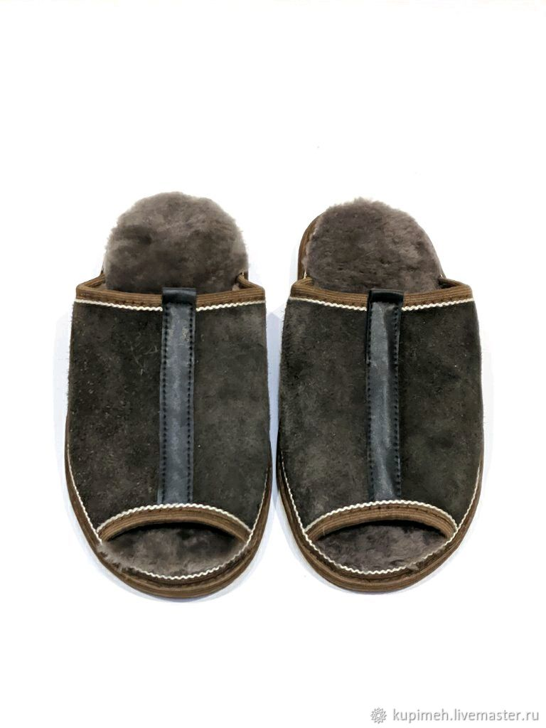 Men's Slippers made of natural fur and suede, Slippers, Nalchik,  Фото №1