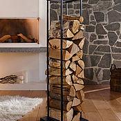 Камины ручной работы. Ярмарка Мастеров - ручная работа Стеллаж для дров Лофт D770BK + переноска. Handmade.