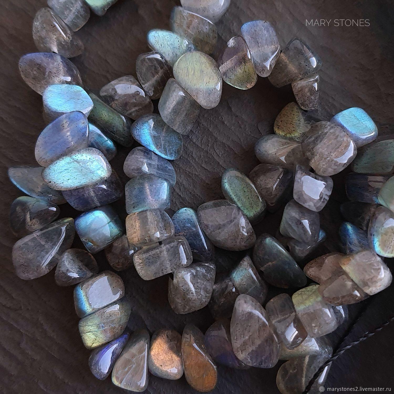 Лабрадорит супер яркий! галтовка бусины около 6-11*4-7 мм, Бусины, Самара,  Фото №1