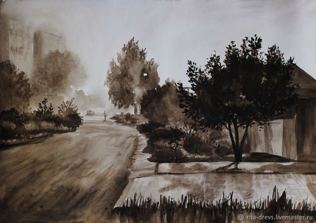 Painting watercolor Morning. Fog, Pictures, Rostov-on-Don,  Фото №1