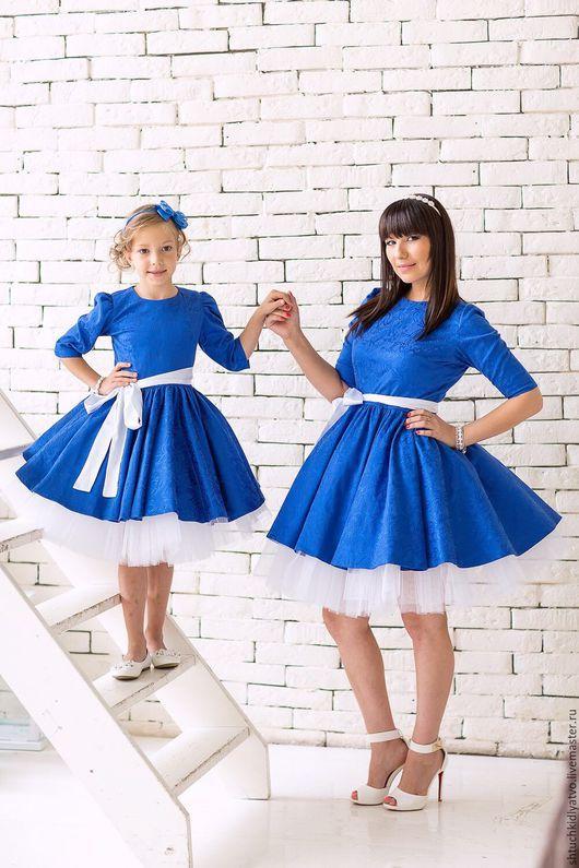 Одежда для девочек, ручной работы. Ярмарка Мастеров - ручная работа. Купить Синее жаккардовое платье с подъюбником. Handmade. Синий, бусины