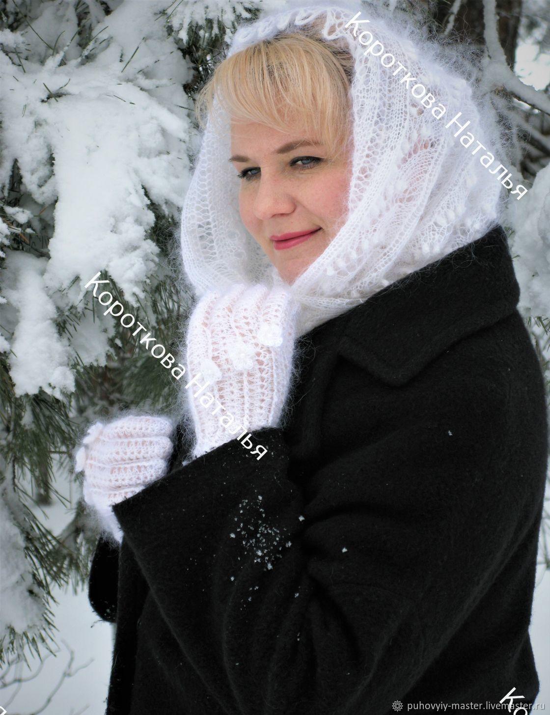 """Шали, палантины ручной работы. Ярмарка Мастеров - ручная работа. Купить Пуховый палантин """"Ландыши на снегу """". Handmade. Зима"""