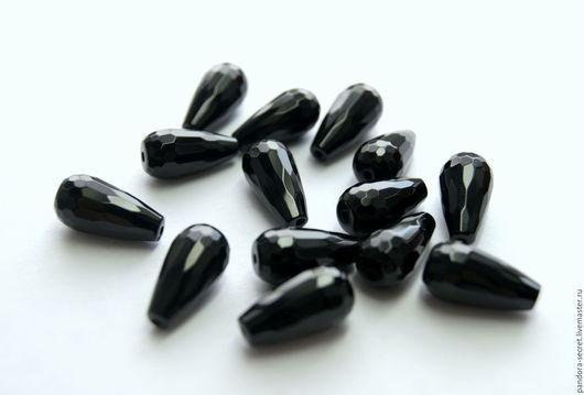Для украшений ручной работы. Ярмарка Мастеров - ручная работа. Купить Черный агат капля с огранкой, ограненные овальные бусины черный агат. Handmade.