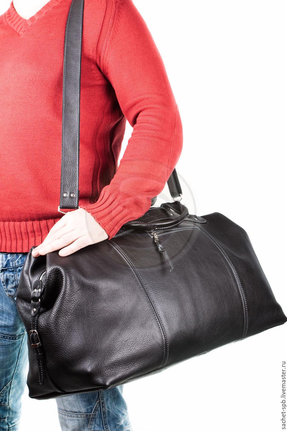 cfd58c887631 ... Мужские сумки ручной работы. Кожаная дорожная сумка черная. Кожинка-САШЕ  (sachet-