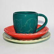"""Посуда ручной работы. Ярмарка Мастеров - ручная работа """"Счастливые котики"""" набор детской посуды. Handmade."""