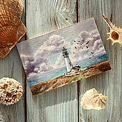 Картины и панно ручной работы. Ярмарка Мастеров - ручная работа Мини-картины маслом с маяками. Handmade.