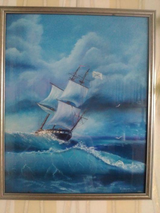 """Пейзаж ручной работы. Ярмарка Мастеров - ручная работа. Купить Картина """"Море волнуется"""". Handmade. Синий, волны, парусник"""