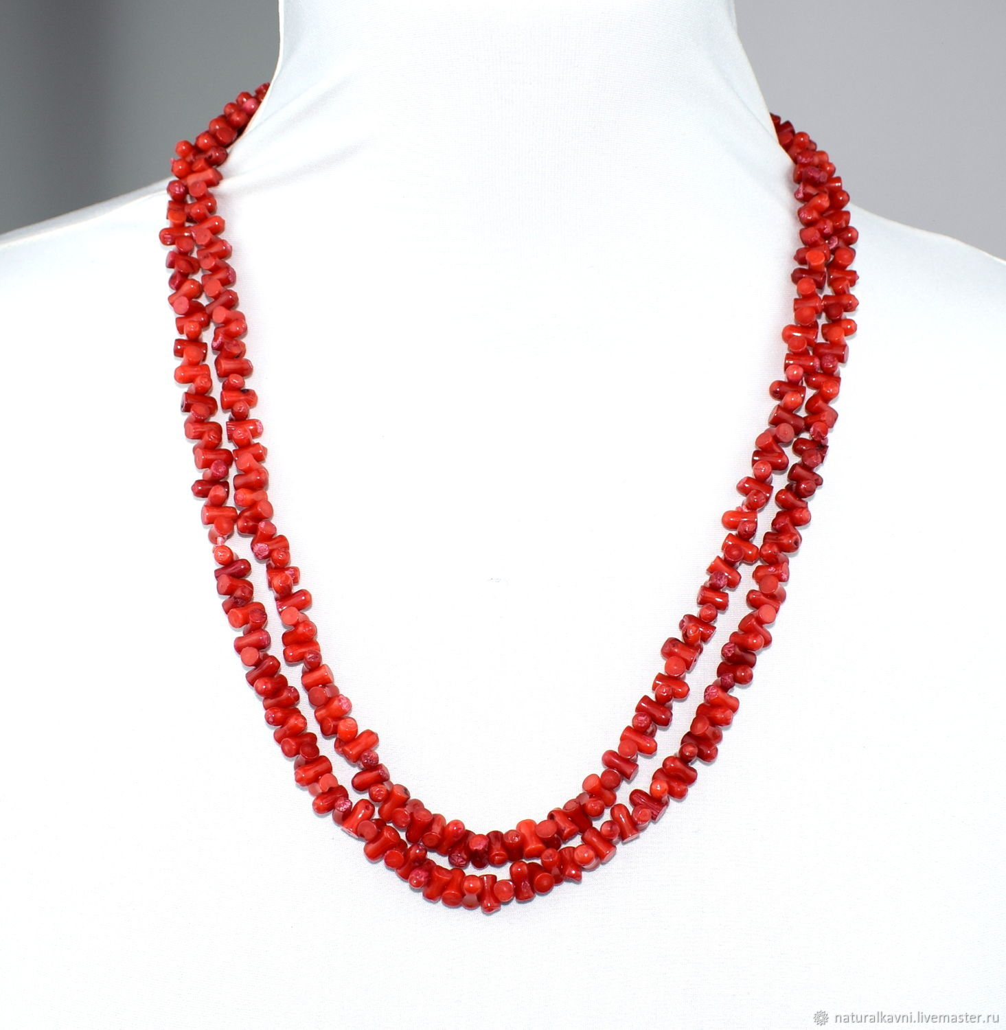 Long red natural coral beads, Beads2, Moscow,  Фото №1