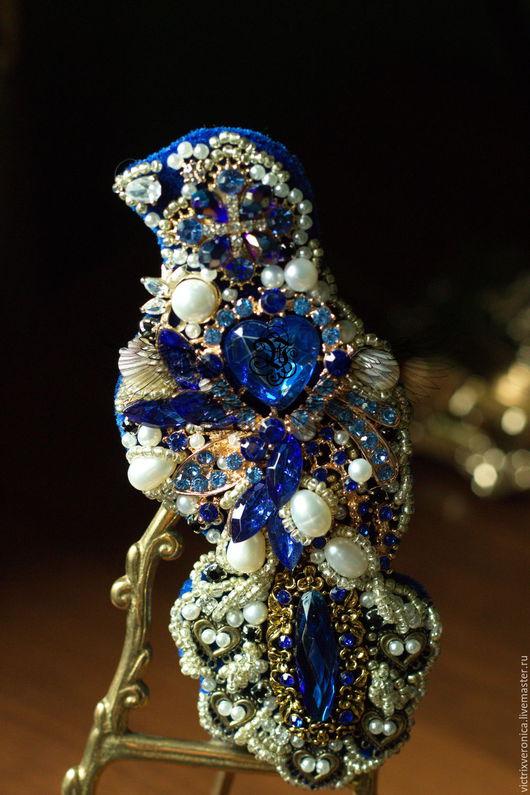 """Броши ручной работы. Ярмарка Мастеров - ручная работа. Купить Брошь -""""Blue bird dreams"""". Handmade. Синий, натуральный жемчуг"""