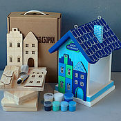 """Для дома и интерьера ручной работы. Ярмарка Мастеров - ручная работа Кормушка для птиц """"ДОМИКИ"""" (набор для сборки) синяя. Handmade."""