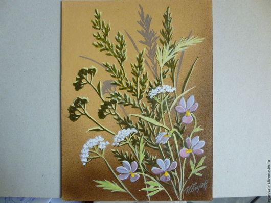 Картины цветов ручной работы. Ярмарка Мастеров - ручная работа. Купить Полевые цветы.. Handmade. Бежевый, букет, подарок