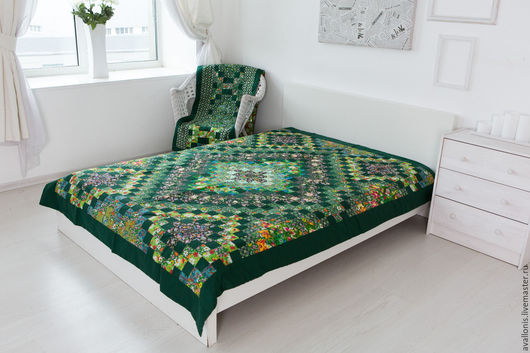 Home Textiles & Carpets handmade. Livemaster - handmade. Buy Patchwork Green patchwork single bedspread.Bedroom