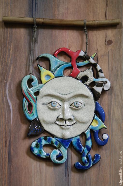 Подвески ручной работы. Ярмарка Мастеров - ручная работа. Купить Керамическое панно Солнце. Handmade. Разноцветный, панно на стену, кракле