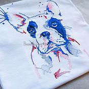 """Футболки ручной работы. Ярмарка Мастеров - ручная работа Вышивка на футболке """"Синий бульдог акварель"""". Handmade."""