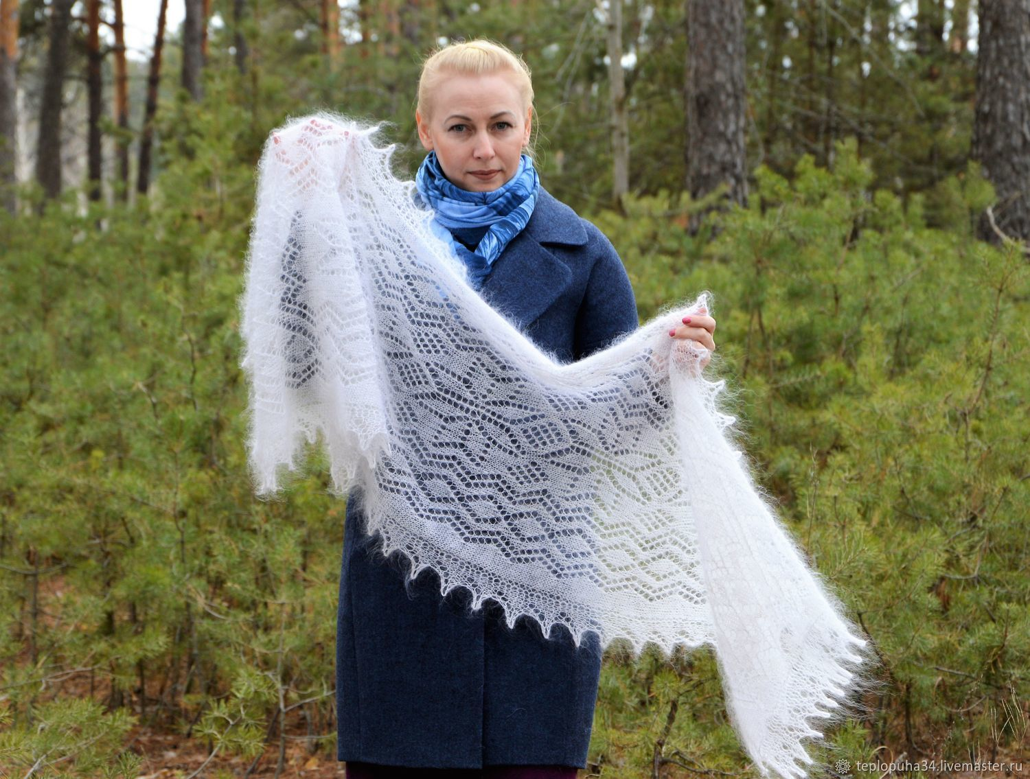 Downy stole 'snowstorm again' knitted gossamer, Wraps, Urjupinsk,  Фото №1