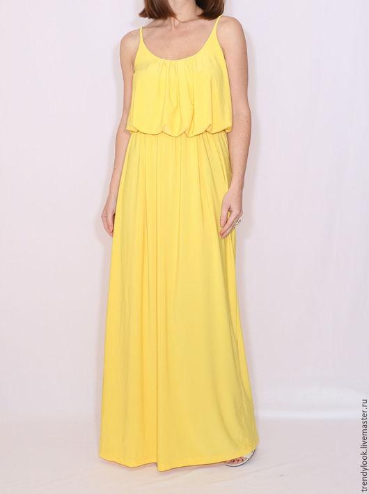 Платья ручной работы. Ярмарка Мастеров - ручная работа. Купить Желтое Платье летнее сарафан на бретельках. Handmade. Желтый, handmade