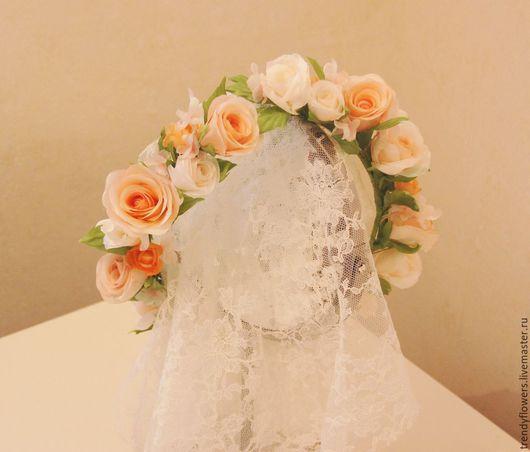 Венок на голову из роз Елена. Цветы из шелка