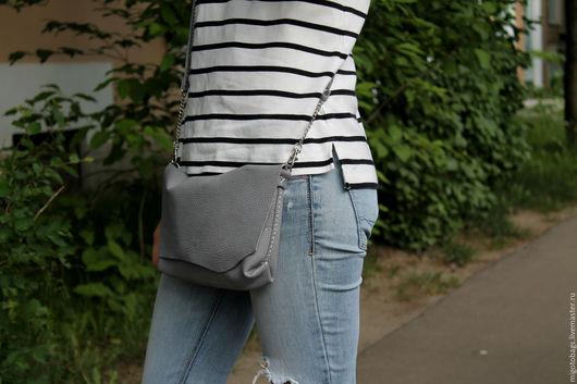 Женские сумки ручной работы. Ярмарка Мастеров - ручная работа. Купить женская серая сумочка натуральная кожа ручная работа. Handmade.