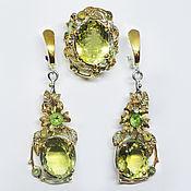 Украшения handmade. Livemaster - original item The set is 925 silver with lemon quartz chrysolites and sapphires. Handmade.