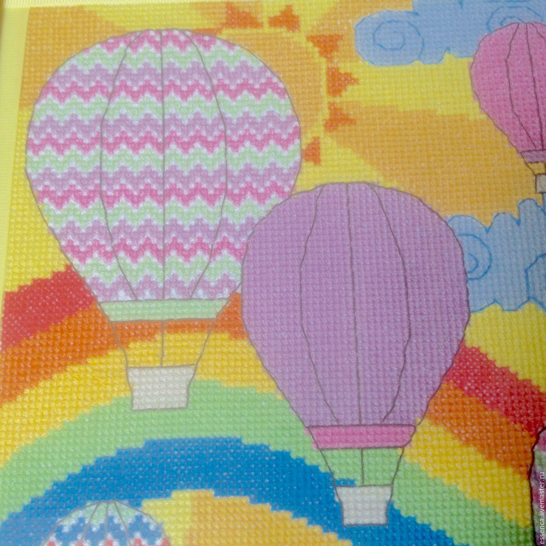 Детская ручной работы. Ярмарка Мастеров - ручная работа. Купить Вышитая картина Воздушные Шары. Handmade. Солнце, украшение для интерьера