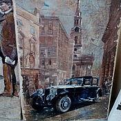 Картины и панно ручной работы. Ярмарка Мастеров - ручная работа Панно деревянное 20х30 состаренное Ретро-авто-1. Handmade.