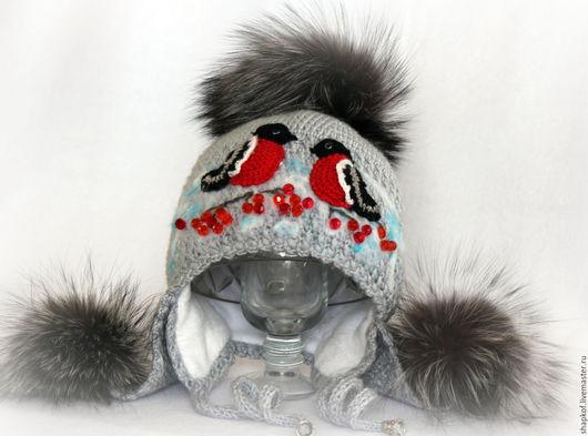 Одежда для девочек, ручной работы. Ярмарка Мастеров - ручная работа. Купить шапка снегири. Handmade. Зимняя шапка, шапка с ушками