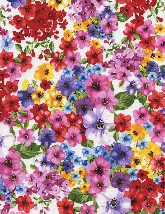 Шитье ручной работы. Ярмарка Мастеров - ручная работа. Купить Ткань для пэчворка и шитья. Handmade. Разноцветный, цветы, шитье, ткань