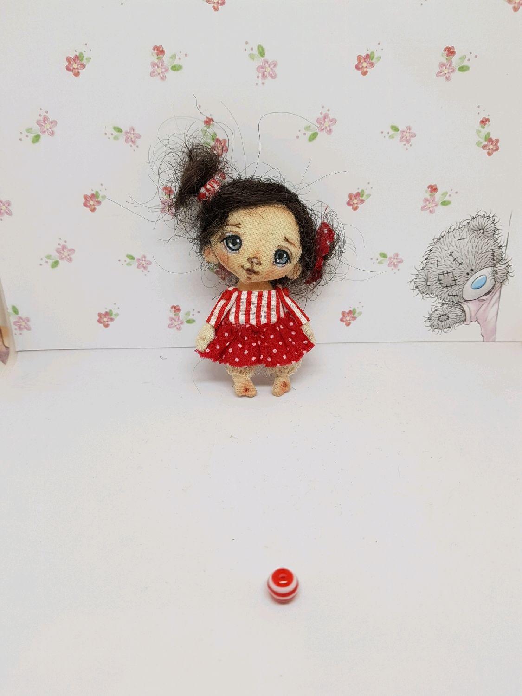 Текстильная кукла кукла ручной работы кукла брошь коллекционная кукла, Куклы и пупсы, Москва,  Фото №1
