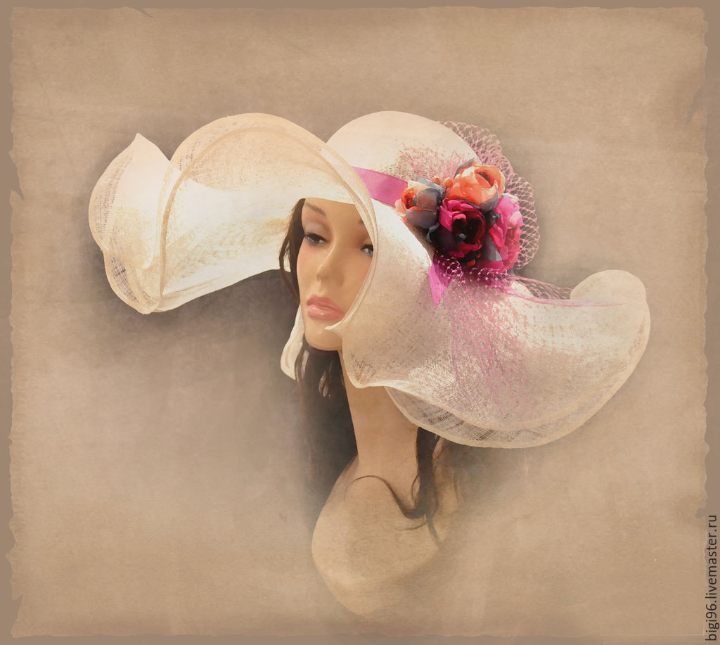 Hat summer 'Pink rose', Hats1, Moscow,  Фото №1