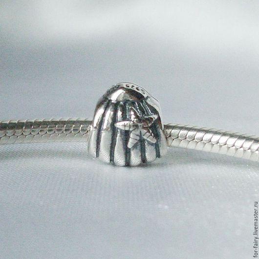 Для украшений ручной работы. Ярмарка Мастеров - ручная работа. Купить Бусина из серебра. Handmade. Шарм, ракушка, ракушка морская