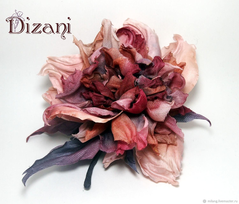 Rose brooch ' Shaina'. Silk flowers, cloth flowers, Flowers, Moscow,  Фото №1