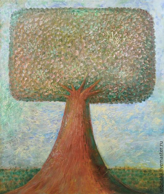 Пейзаж ручной работы. Ярмарка Мастеров - ручная работа. Купить Зеленое дерево. Handmade. Болотный, живопись постмодернизм, юмор, масло