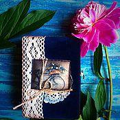 Канцелярские товары ручной работы. Ярмарка Мастеров - ручная работа Blue romantic- блокнот ручной работы. Handmade.